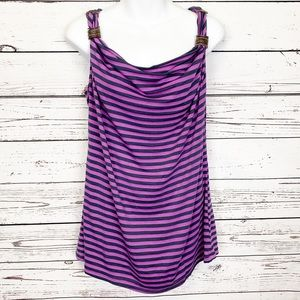 SUSAN BRISTOL purple black striped sleeveless top